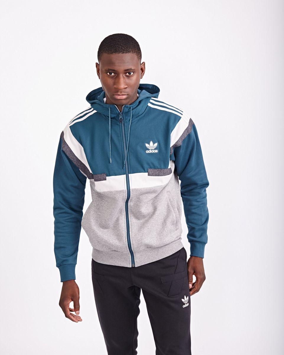 adidas Homme Hoodies | BR8 Full Zip Blanc Gris Bleu > Yumobiz