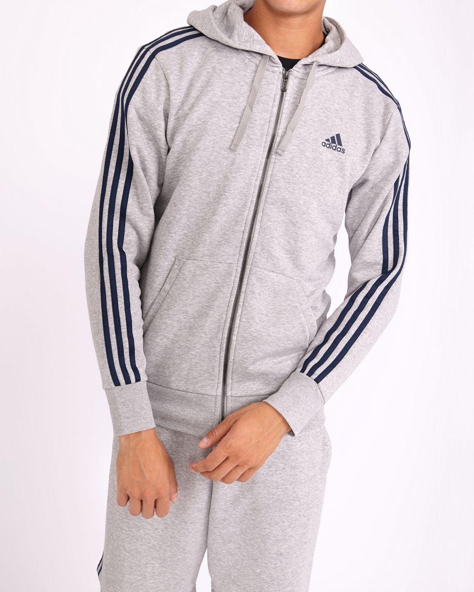 adidas Homme Hoodies | Essential 3 Stripe Full Zip Noir Gris > Yumobiz