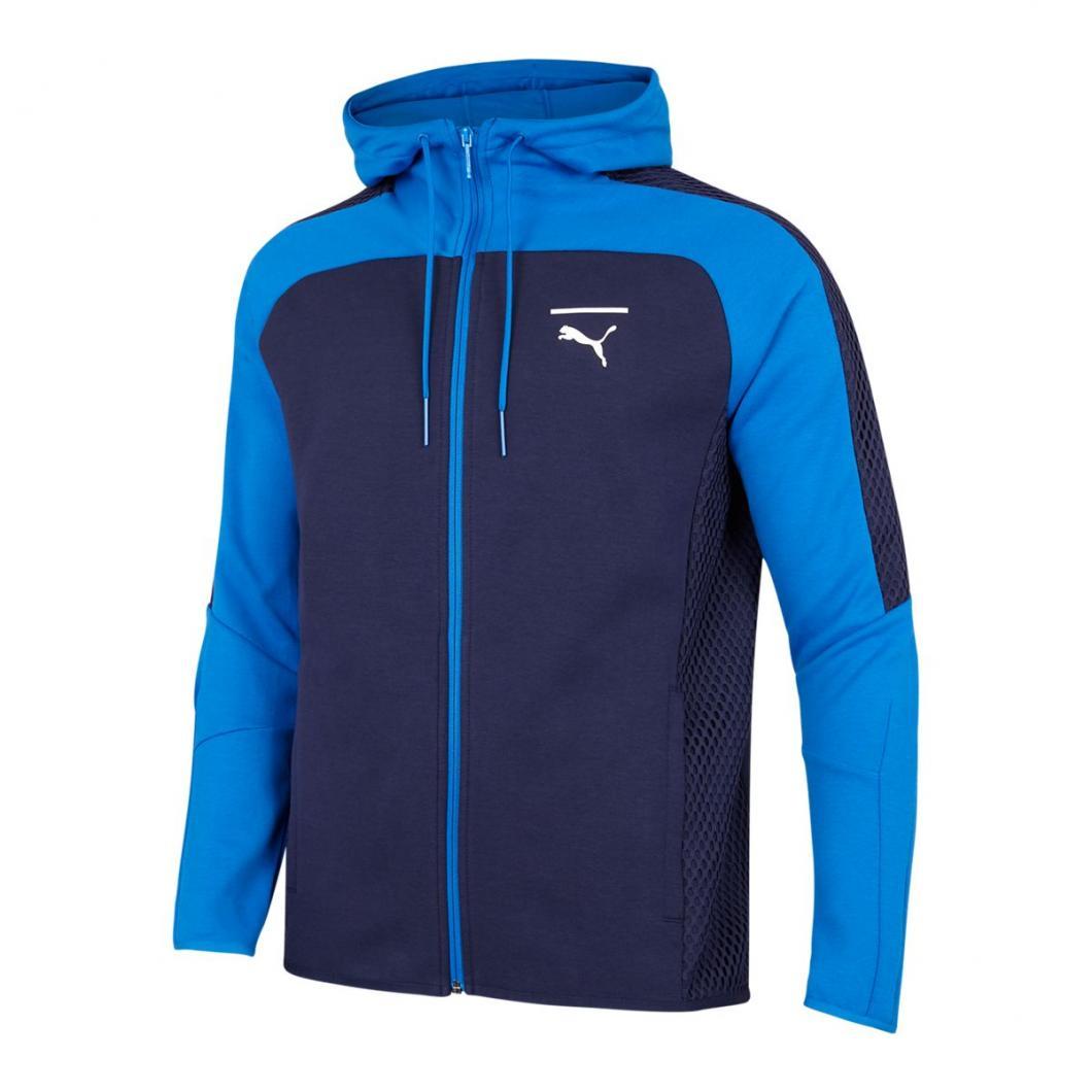 Puma Homme Hoodies | Pace Net Colorblock Full Zip Blanc Bleu > Yumobiz