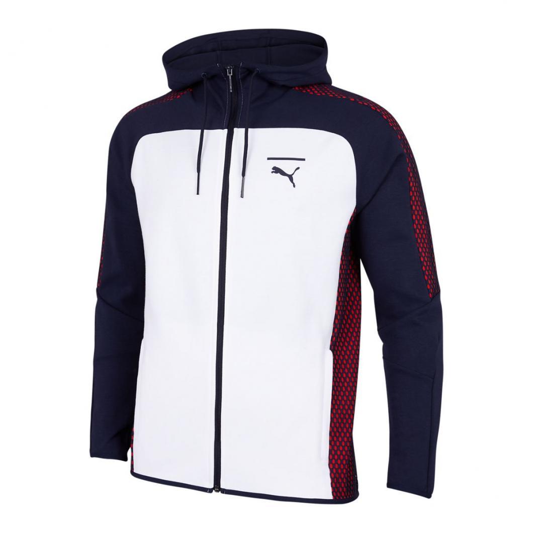 Puma Homme Hoodies | Pace Net Colorblock Full Zip Blanc Rouge Bleu > Yumobiz