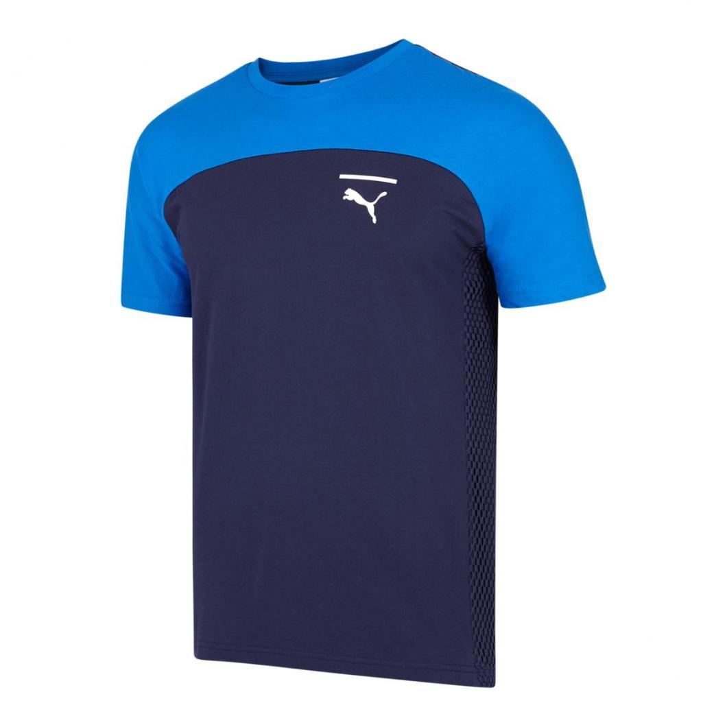 Puma Homme T Shirts | Pace Net Colorblock Blanc Bleu > Yumobiz